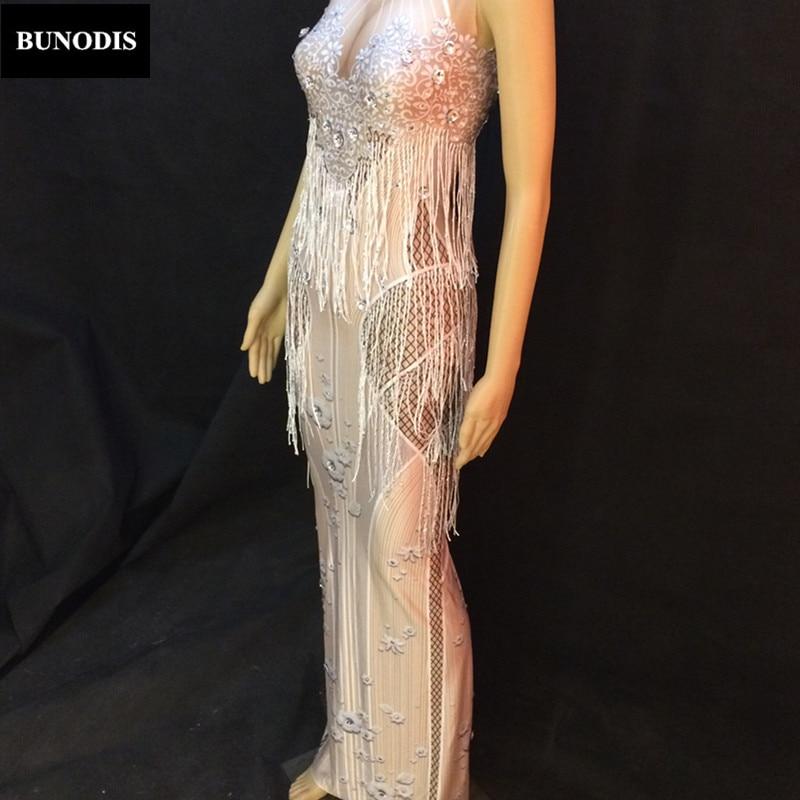 Jupe Sans Gland Nightclub Costume Longue D'anniversaire Manches Performance Bu103 Vêtements Femmes Blanc Mousseux Célébration xCqtwYBw