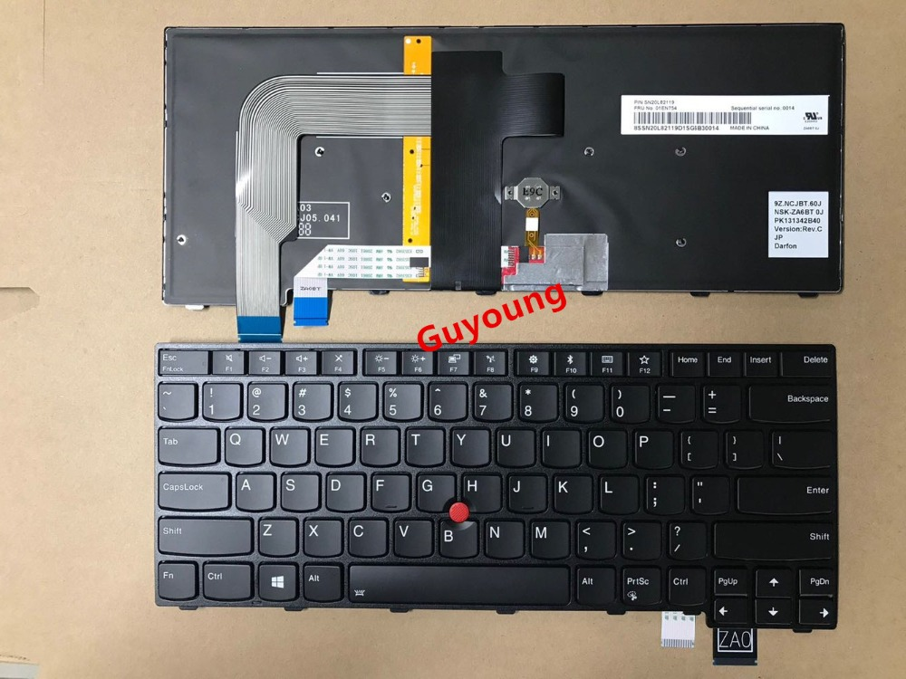 English Backlit Keyboard For LENOVO T460S T460P T470S T470P ThinkPad 13 2nd (20J1-20J2) New S2 (2nd Gen 20J3) Laptop US Black