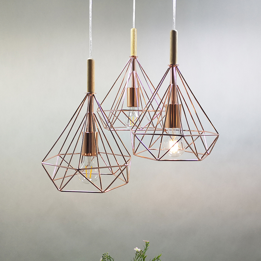 Modern Birdcage pendant lights dia 25 38cm rose gold metal cage retro light fixture Diamond shape