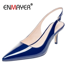 ENMAYER Brand Women Pumps 2018 Spring Pointed Toe Patent Stiletto Blue Black Red White Peach Dress Shoes Size 4-12.5 CR816