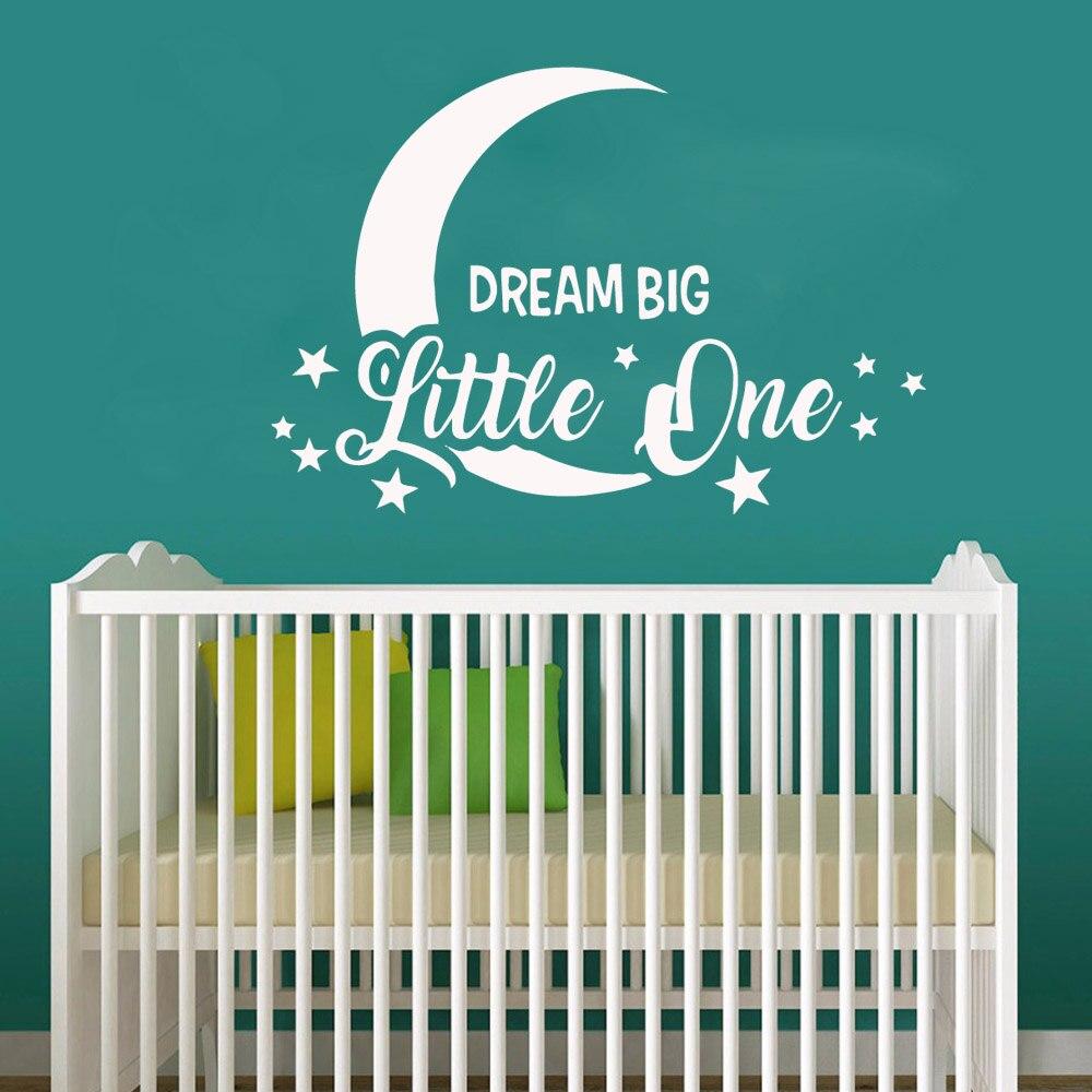 Cute Big Dream Wallpaper Vinyl Art Wall Decals Moon Star Little One Sticker Kids Baby Boys Girls Home DecorLY1706