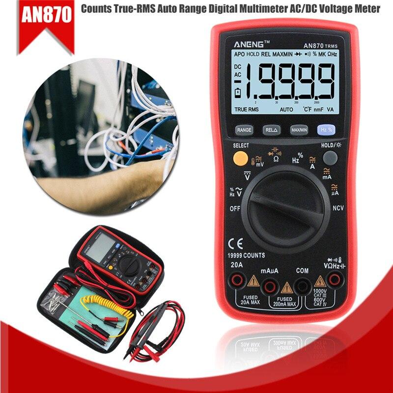 Mayitr 1 pc AN870 True-RMS Auto/manuel gamme multimètre numérique professionnel AC/DC testeur de Transistor de compteur de tension