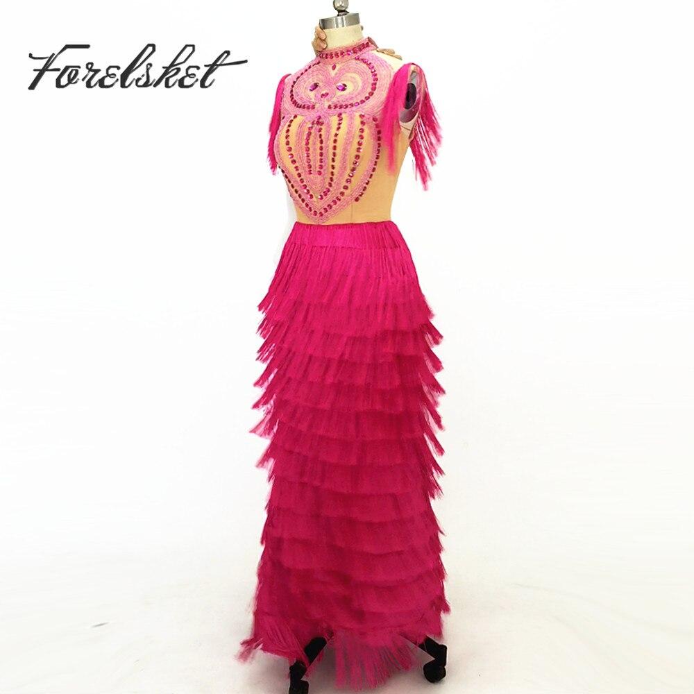 Abiti lunghi per la danza Latino bling bling nappa Prom Dresses perline pesanti etero abiti da sera convenzionale lungo vestiti da partito