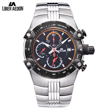 Liber Aedon Sport Mens Watch Top Brand Luxury Military ShockProof Full Stainless Steel Quartz Mens Wrist Watch Relogio Masculino