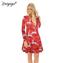 37b525316528 Ruiyige 2018 Autumn SpringChristmas Dress Women Red Deer Pattern Print Full  sleeve Mini Party Party Dating Xmas Dresses Vintage