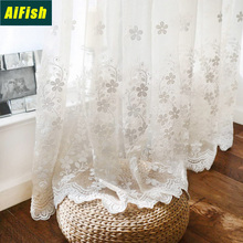 Embroidered Floral Sheer Net Curtains Living Room Tulle Elegant Voile Drapery Window Treatment Tulle for Bedroom/Balcony ZH023T3