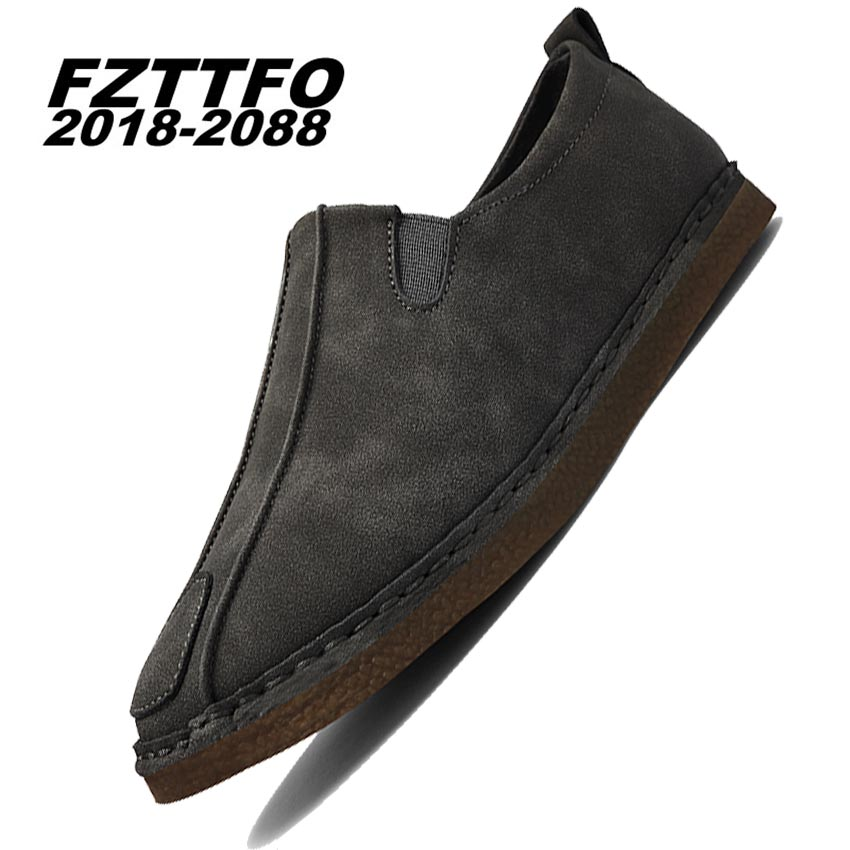Size 38-44 Men Suede Leather Casual Shoes,FZTTFO 2018-2088 Brand Design Shoes,Spring Autumn Loafers Shoes For Men K482 all black platform shoes men brogues 2016 autumn brand design fashion shoes blingbling leather oxfords real leather shoes 38 44