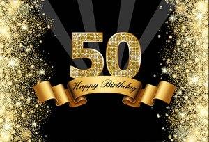 Image 2 - Sensfun Nền Chụp Ảnh Đen Lấp Lánh Vàng Lấp Lánh Happy 50th Sinh Nhật Bối Cảnh Cho Studio Ảnh 7x5FT Vincy