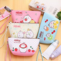 New Korean Portable Cute Cartoon Molang Zipper Cosmetic Bags 21*12*5.5cm PU Makeup Case 4 Colors Toiletry Pouch Cosmetic Cases
