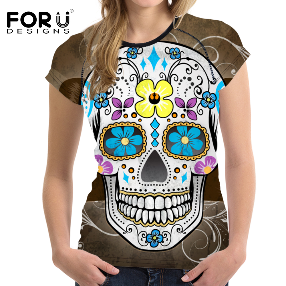 FORUDESIGNS Fashion Women s T Shirt Summer Short Sleeve Punk Skulls Printed Casual Tee Shirt for