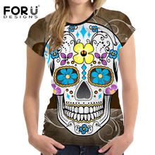 FORUDESIGNS Fashion Women's T Shirt Summer Short Sleeve Punk Skulls Printed Casual Tee Shirt for Female Comfortable Tshirt Tops
