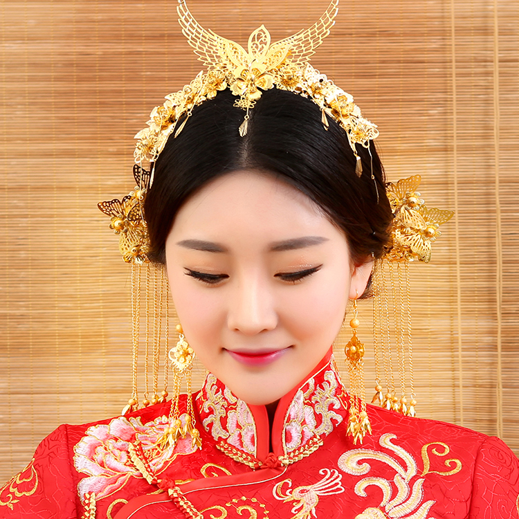 Xi Jia Traditional Chinese Wedding Bride Hair Tiaras for Xiuhefu Hair Accessory Set for Costume