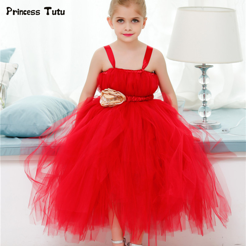 Kids Girls Tutu Dress Tulle Red Christmas Dress Princess Wedding Bridesmaid Flower Girl Dresses Party Pageant Children Clothing red girls christmas dress princess flowers tutu dress tulle children performance ball gown baby kids party christmas costumes