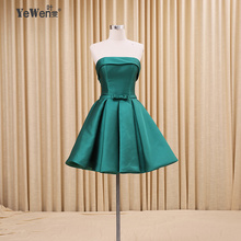 c2b0fa8ddc0 YeWen 2018 Green Bow Pink Purple Blue Girls Short Cocktail Dresses Mini  Sexy Party Gown robe
