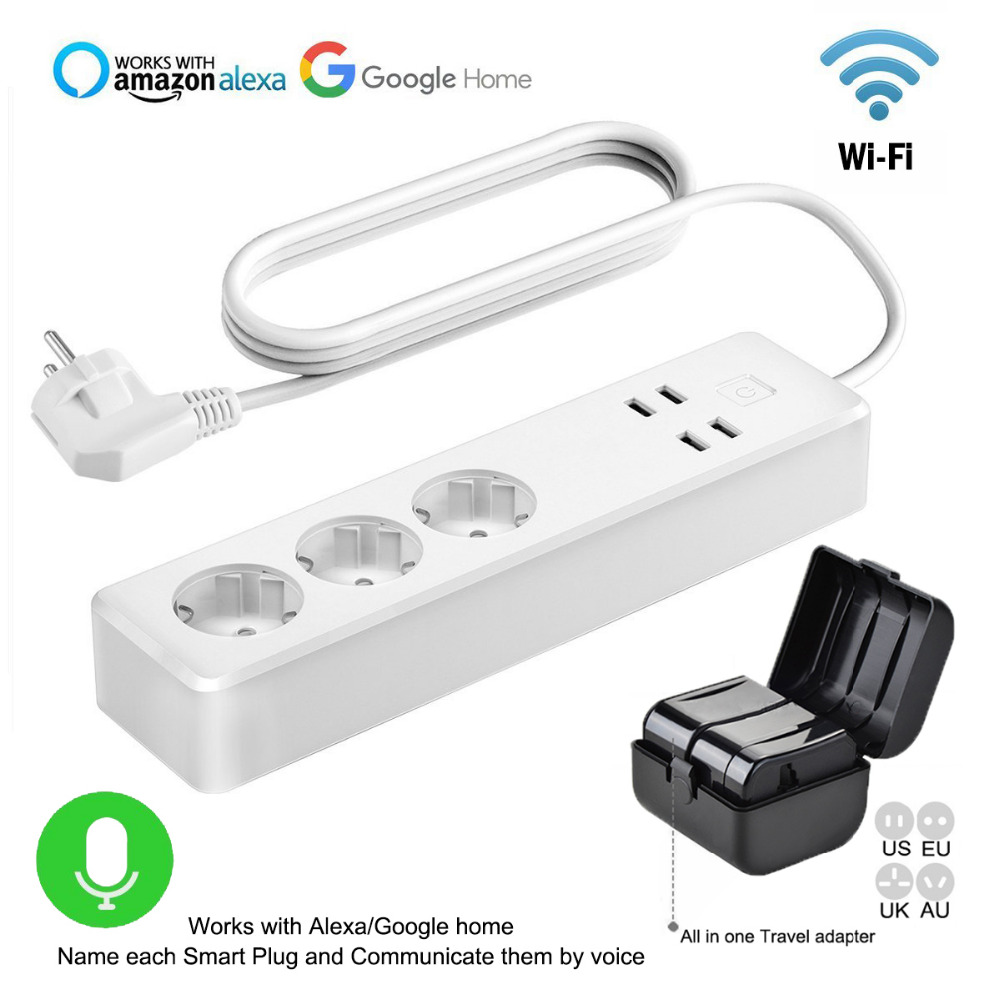 WiFi Power socket Smart Surge Protector with 4 USB and 3 eu plug app Timer Switch Compatible Alexa and Google home Voice Control smart eu plug wifi mini alexa socket 16a app control power timer switch voice control works with alexa google home and ifttt