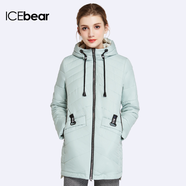 ICEbear 2017 Woven Many Colors Women Coat Parkas Spring Autumn Regular Warm Ladies Jacket With Long Sleeves 17G2105
