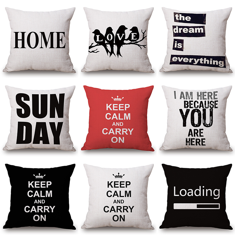 Inspirational Letter Printed Cotton Linen Pillowcase Decorative Cushion Pillows Use For Home Sofa Car Office Almofadas Cojines