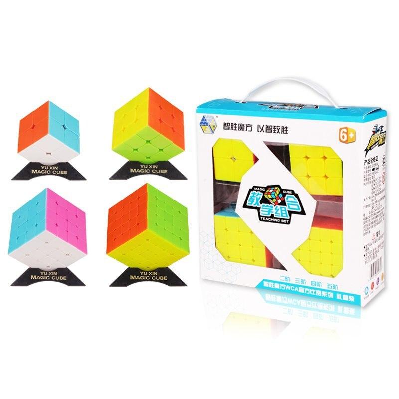 4 pièces YUXIN ZHISHENG 2x2 3x3 4x4 5x5 Cube Magique Ensemble Vitesse Puzzle 2*2 3*3 4*4 5*5 Cube Professionnel Jouets Éducatifs Enfants