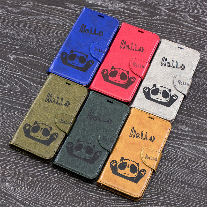 Luxury Cute Hello Panda Embossing Leather Wallet Case for Moto G6 2018 Flip Stand Card Holder Cover for Motorola Moto G6 2018 in Flip Cases from Cellphones Telecommunications