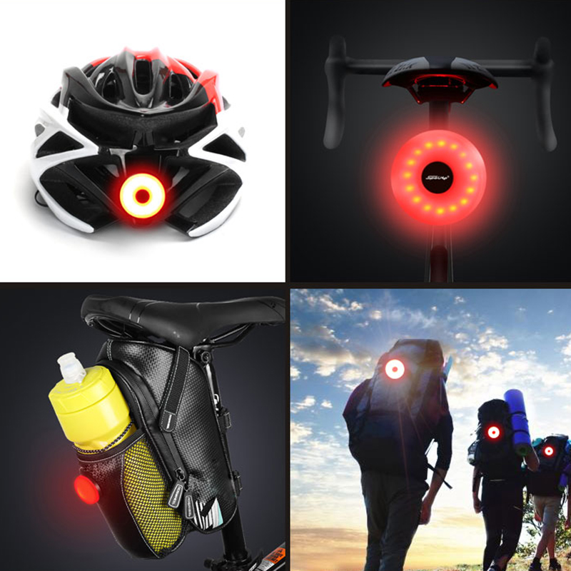 WasaFire USB Rechargeable Bicycle Lamp USB Bike Tail Light Taillight Safety Warning Bicycle Rear Light For Bag For Helmet Lamps