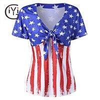 GIYI Más Tamaño 5xl 4xl Ropa de La Bandera Americana de La Camiseta de Las Mujeres Sexy Cuello En V de Gran Tamaño de Manga corta Camiseta de Gran Tamaño Top Femme