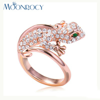MOONROCY Free Shipping Cubic Zirconia Crystal Ring Jewelry Wholesale Rose Gold Color Fashion Animal lizard Rings Women's Gift