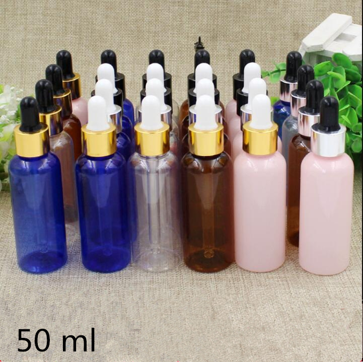 50 pcs Free Shipping 50ml Empty Plastic dropper bottles Top Grade Cosmetic Water Essential Oil Perfume