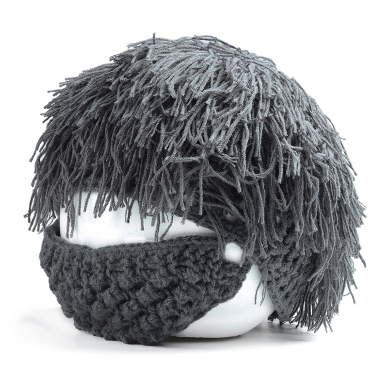 Fancy Knitting winter hat cool savage beard Hallowmas style crochet masked hat  for boys and girls winter knitting patterns chunky crochet hat
