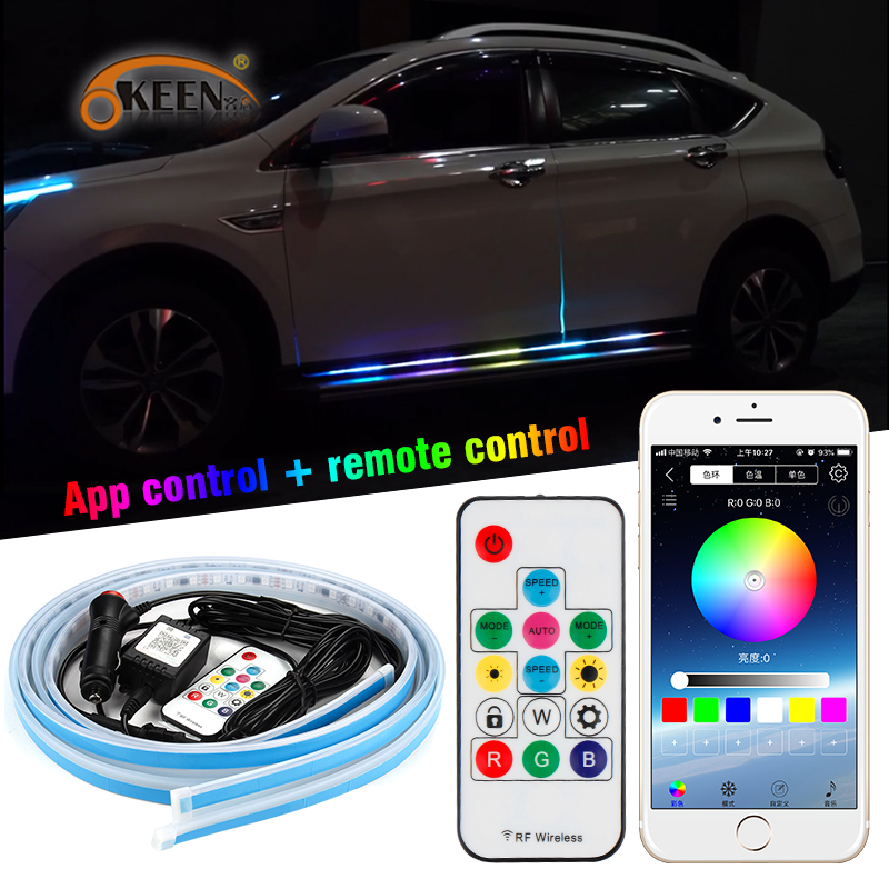 OKEEN 2020 Newest 12V <font><b>Car</b></font> <font><b>RGB</b></font> <font><b>Led</b></font> <font><b>Light</b></font> <font><b>Strip</b></font> Door Warning Flash Lamp Decorative Atmosphere <font><b>Lights</b></font> With APP Remote Music Control image