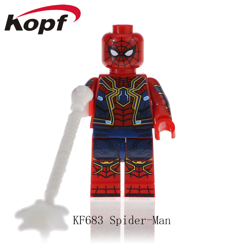 KF683 Super Heroes Spiderman Captain Avengers Anti-Venom American Carnage Thanos Bricks Figures Action Model Toy For Children image