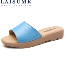 LAISUMK 2019 Summer Slippers Women Platform Sandals Shoes Women Slides Sandals Beach Platform Slip-On Round Toe White Flip Flops big bowtie woman beach flip flops summer sandals slip resistant slippers platform sandals size 34 40