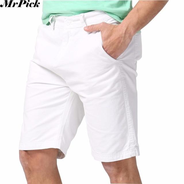 Новые Мужчины Шорты Летняя Мода Мужчины Повседневная Пляж Хлопок Шорты Белый 7 Цвет Размер США 30-40 E5075