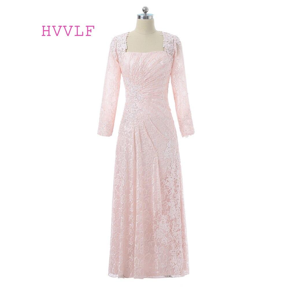 Rose 2019 mère de la mariée robes a-ligne manches longues Appliques dentelle marié longues robes de soirée mère robes pour les mariages