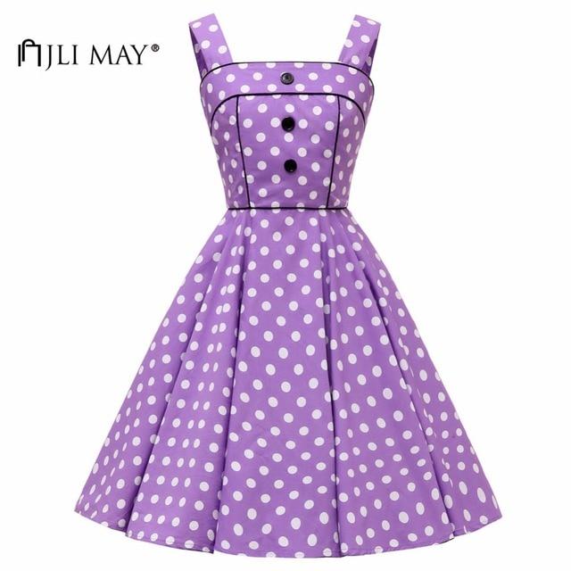 JLI MAY Women Vintage Polka Dot Dress Hepburn Sleeveless Midi Button  Spaghetti Strap Summer sundress Evening Party Korean style 420bc3a0208e