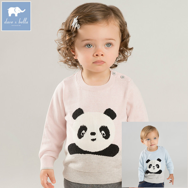 DB8544 dave bella unisex baby sweater children pullover knitted sweater infant toddler boys girls panda print lovely clothes купить в Москве 2019