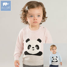 DB8544 dave bella unisex baby sweater children pullover knitted sweater infant toddler boys girls panda print lovely clothes(China)
