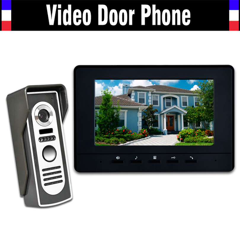 7 LCD Monitor Video Door Phone Intercom Doorbell System Video Intercom Kits IR Camera Video Door bell Doorphone for villa home homefong 7 tft lcd hd door bell with camera home security monitor wire video door phone doorbell intercom system 1200 tvl