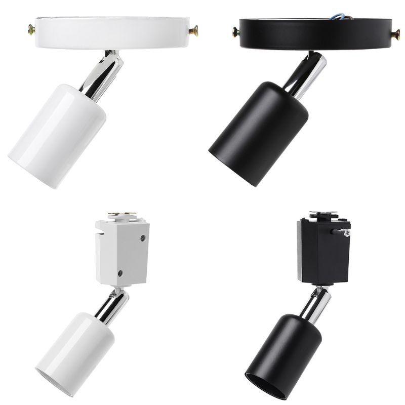 New Loft Minimalist E27 Track Light Holder Universal Connector Direction Adjustable Rail Lamp Ceiling Lights