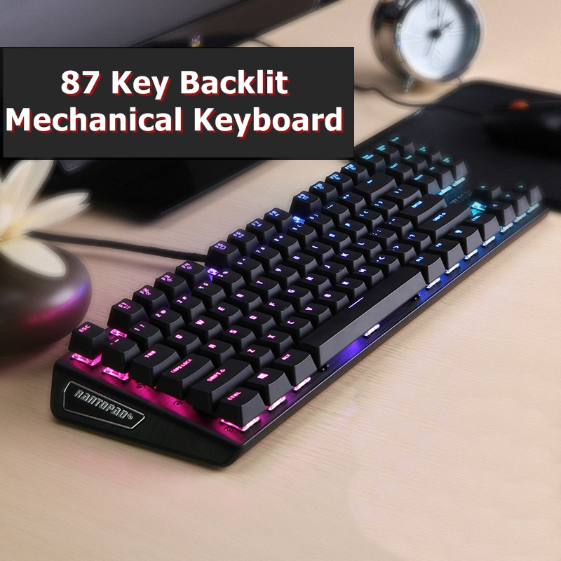 Rantopad MXX Black RGB Custom Backlit Mechanical Gaming Keyboard 87-Key Deluxe Black Aluminium Cap DOTA2 Tank World CS
