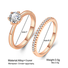Double Ring Set with Cubic Zirconia