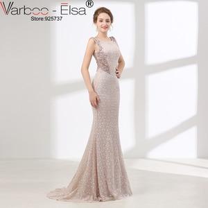 Image 3 - VARBOO_ELSA Luxury Crystal Beading Evening Dress Sexy Back Transparent Long Mermaid Prom Dress Beige Lace vestido de festa 2018
