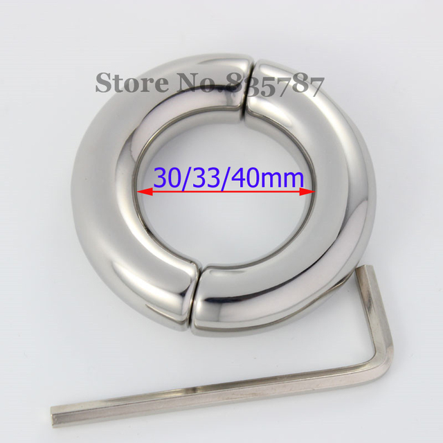 Stainless Steel Penis Ring Testicular Restraint Scrotum Chain Ball Locking Device Erotic Sex Toys Cockring 30/33/40mm