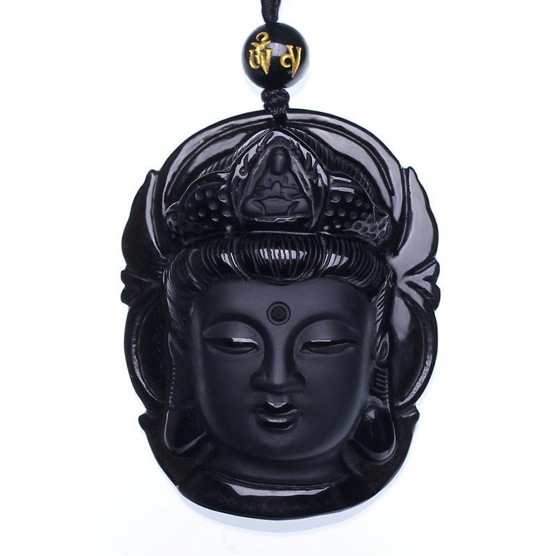 Natural Black Obsidian Pendant Avalokiteshvara Buddha Guanyin Head Amulets And Talismans Scrub Pendant With Bead Necklace bead