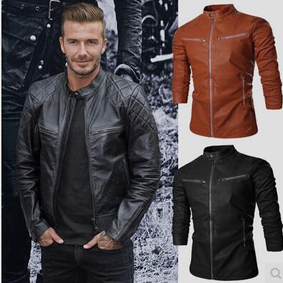 Envío gratis 2015 nueva chaqueta de cuero Collar del soporte del otoño nuevos hombres de la chaqueta de cuero + locomotora estilo hombres camiseta Slim Fit ropa de cuero