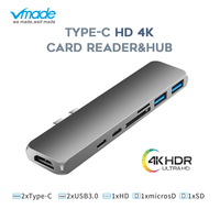 USB 3.1 Type C Hub To HDMI Adapter 4K Thunderbolt 2 USB C Hub with Hub 3.0 TF SD Reader Slot PD Charger for MacBook Pro/Air 2018