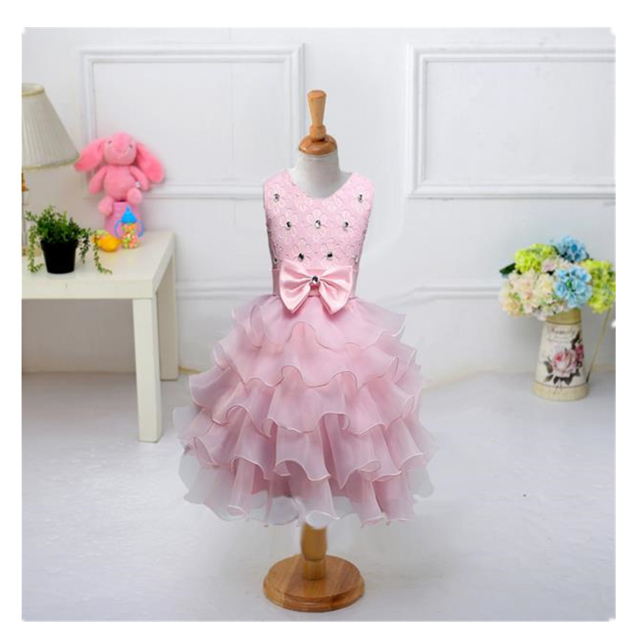 ФОТО Girls princess  multi layer cake baby wedding dress flower child children 's dance performance M&B1018