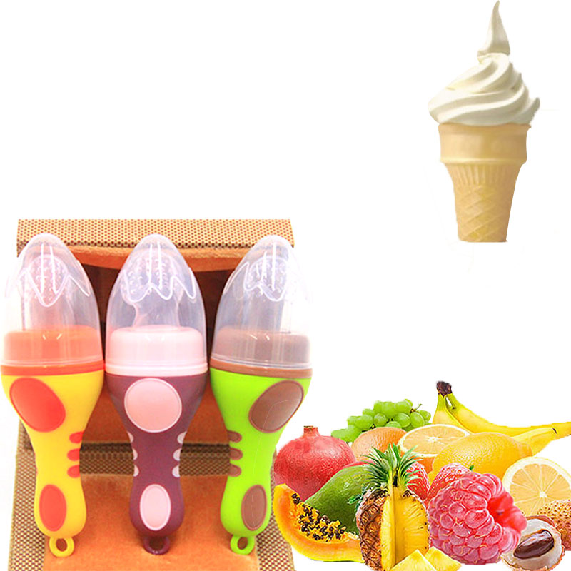 1Pcs New Baby Pacifiers Ice Cream Shape Fruit Feeder Fresh Food Nipples Feeding Safe Baby Supplies Nipple Teat Pacifier Bottles