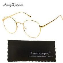 d69a2b8ecbeda3 LongKeeper Ronde Brillen Zwart Zilver Goud Brilmontuur Vrouwen Mannen Clear  Lens Metalen Eyeware Optische Bijziend Eyewares 002