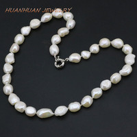 Free Shipping Of New Fashion 2014 Charming Real 12 14mm Natural South Baroque White Akoya Pearl