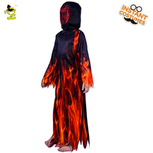 New Fire Flame Devil Costumes Boys Scary Dress Carnival Role Play Outfit, Children Party Masquerade Halloween Party Scary  Suit